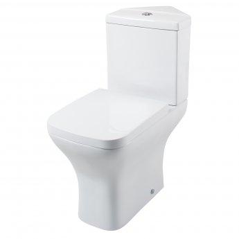Cali Fair Corner Close Coupled Toilet with Push Button Cistern - Wrapover Seat