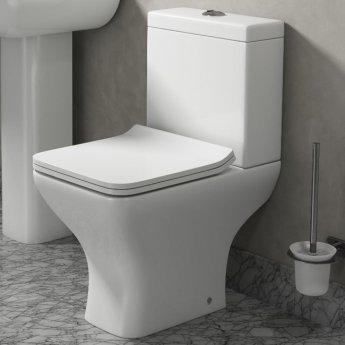 Cali Fair Close Coupled Toilet - Push Button Cistern with Soft Close Quick Release Slimline Seat