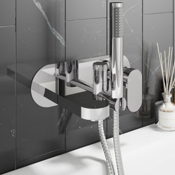 Cali Filo Wall Mounted Bath Shower Mixer with Handset - Chrome