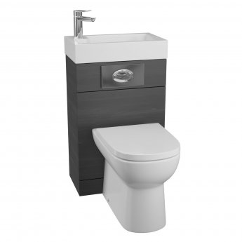 Cali Futura WC Basin Pack with D Shaped Toilet Pan and Seat - Black Ash