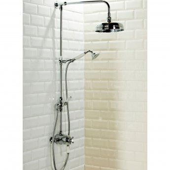 Cali Grand Traditional Exposed Shower with Rigid Riser Kit and Diverter - Chrome