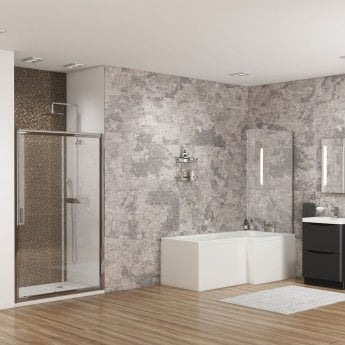 Cali Halle L-Shaped Shower Bath 1500mm x 700mm/850mm Right Handed