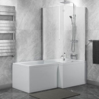 Cali Halle L-Shaped Shower Bath 1500mm x 700mm/850mm with Side Panel and Bath Screen - Right Handed
