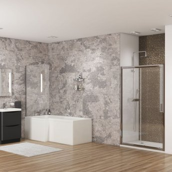 Cali Halle L-Shaped Shower Bath 1700mm x 700mm/850mm with Side Panel and Bath Screen - Left Handed