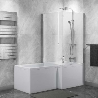 Cali Halle L-Shaped Shower Bath 1700mm x 700mm/850mm with Side Panel and Bath Screen - Right Handed