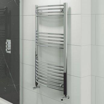 Cali Hayle Curved Heated Towel Rail 1200mm H x 500mm W Chrome