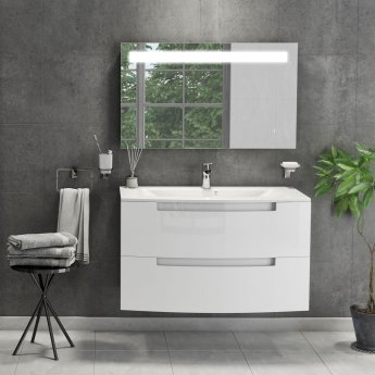 Cali Henley 2-Drawer Wall Mounted Vanity Unit with Basin 600mm Wide - Gloss White