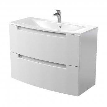 Cali Henley 2-Drawer Wall Mounted Vanity Unit with Basin 1000mm Wide - Gloss White