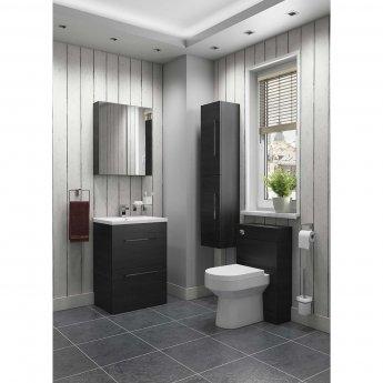 Cali Idon 2-Door Wall Hung Mirror Cabinet - 600mm Wide - Black Ash