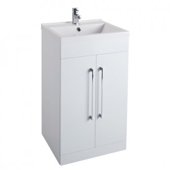 Cali Idon 2-Door Free Standing Vanity Unit with Basin - 500mm Wide - Gloss White