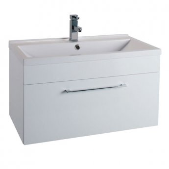 Cali Idon 1-Drawer Wall Hung Vanity Unit With Basin - 800mm Wide - Gloss White