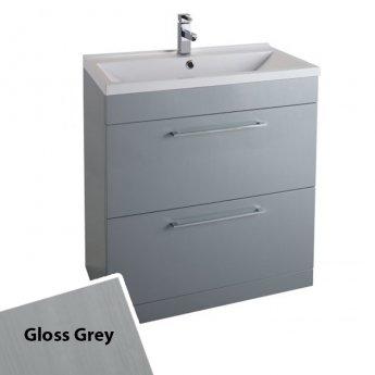 Cali Idon Floor Standing 2-Drawer Vanity Unit with Ceramic Minimalist Basin 800mm Wide - Gloss Grey