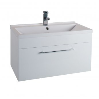 Cali Idon Wall Hung 1-Drawer Vanity Unit with Ceramic Minimalist Basin 800mm Wide - Gloss White