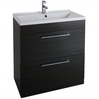 Cali Idon Floor Standing 2-Drawer Vanity Unit with Ceramic Mid Edge Basin 800mm Wide - Black Ash