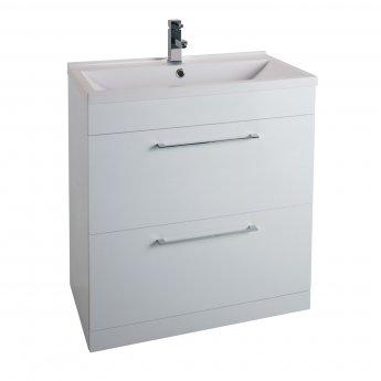 Cali Idon Floor Standing 2-Drawer Vanity Unit with Ceramic Mid Edge Basin 800mm Wide - Gloss White