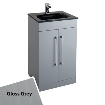 Cali Idon 2-Doors Free Standing Grey Vanity Unit with Black Glass Basin - 500mm Wide 1 Tap Hole