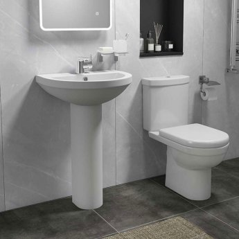 Cali Ivo Basin with Full Pedestal - 550mm Wide - 1 Tap Hole