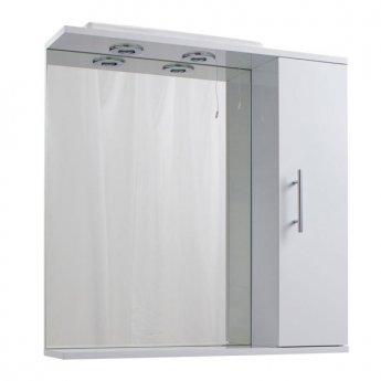 Cali Kass 1-Door Cabinet Mirror Unit and 2-Lights - 750mm Wide - Gloss White