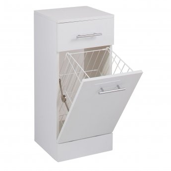 Cali Kass Laundry Basket with Drawer - 300mm Depth - Gloss White