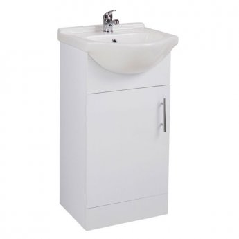 Cali Kass 1-Door Vanity Unit With Basin - 450mm Wide - Gloss White
