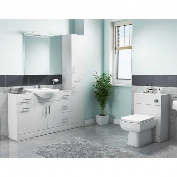 Cali Kass 2-Door Vanity Unit With Basin - 550mm Wide - Gloss White