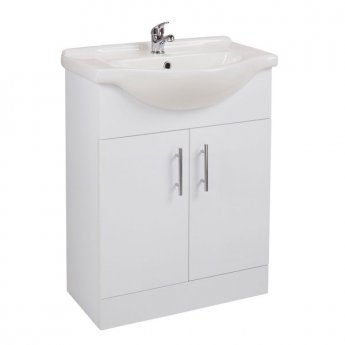 Cali Kass 2-Door Vanity Unit With Basin - 650mm Wide - Gloss White