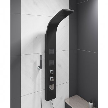 Cali Luna Thermostatic Shower Panel - Black