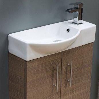 Cali Mini 2-Door Vanity Unit with Basin - 500mm Wide - Medium Oak