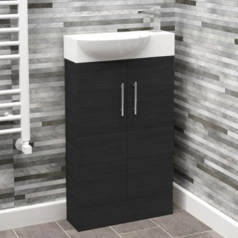 Cali Mini 2-Doors Floor Standing Vanity Unit with Basin - 500mm Wide - Black Ash