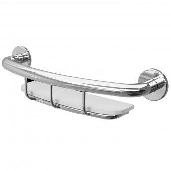 Cali Grab Rail with Basket - Chrome Bathroom Accessory