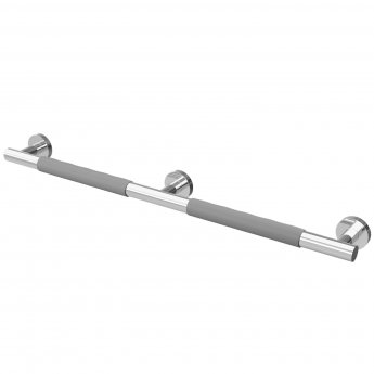 Cali Straight Grab Rail with Grey Rubber Grip 856mm Length - Chrome