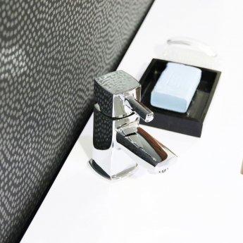 Cali Nero Mini Mono Basin Mixer Tap Deck Mounted with Click Clack Waste - Chrome