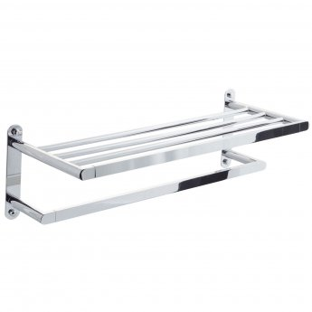 Cali Poppy Bath Towel Shelf and Single Bar - Chrome