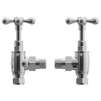 Cali Traditional Cross Head Angled Radiator Valves with Plate and Tube - Pair - Chrome