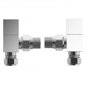 Cali Square Head Angled Radiator Valves - Pair - Chrome