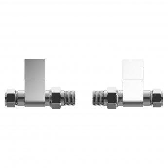 Cali Square Head Straight Radiator Valves - Pair - Chrome
