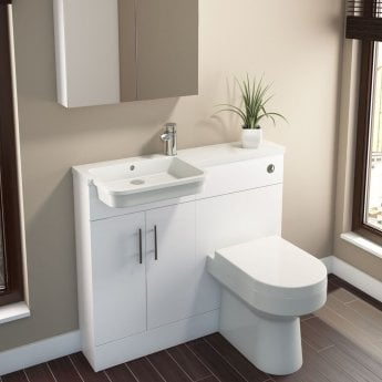 Cali Ria Combination Unit with Left Handed Basin - 1000mm Wide - Gloss White