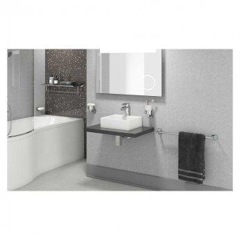 Cali Rose Bath Towel Shelf and Single Bar 613mm Wide - Chrome