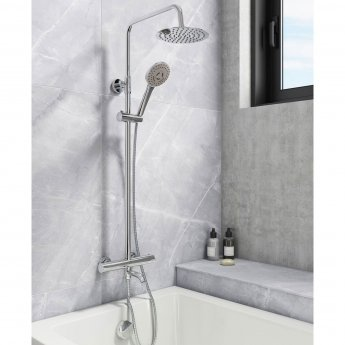 Cali Santana Thermostatic Bar Shower Valve with Shower Kit and Bath Filler + Fixed Head