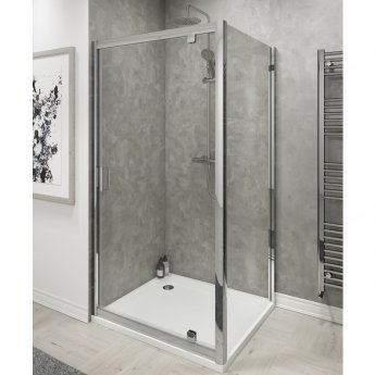 Cali Seis Pivot Door Shower Enclosure 800mm x 800mm - 6mm Glass