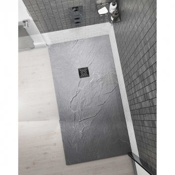 Cali Rectangular Slate Effect Shower Tray with Waste 1200mm x 800mm - Anthracite