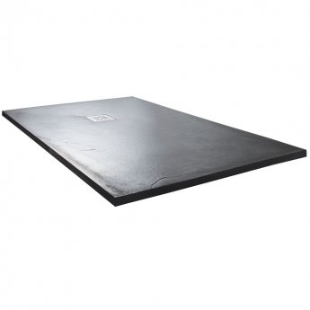 Cali Rectangular Slate Effect Shower Tray with Waste 1500mm x 800mm - Anthracite