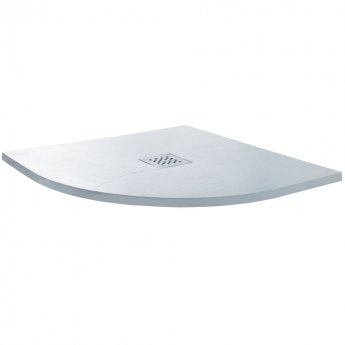 Cali Quadrant Slate Effect Shower Tray with Waste 900mm x 900mm - White