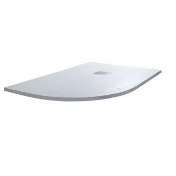 Cali Offset Quadrant Slate Effect Shower Tray with Waste Left Handed 1200mm x 900mm - White