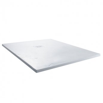 Cali Square Slate Effect Shower Tray with Waste 900mm x 900mm - White