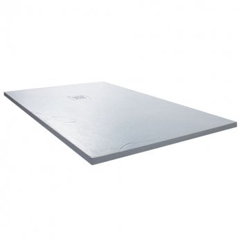 Cali Rectangular Slate Effect Shower Tray with Waste 1500mm x 800mm - White