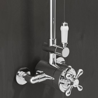 Cali Traditional Exposed Thermostatic Top Outlet Shower Valve - Chrome