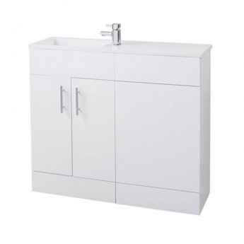 Cali Slimline Combination Unit with 995mm Wide Basin - Gloss White
