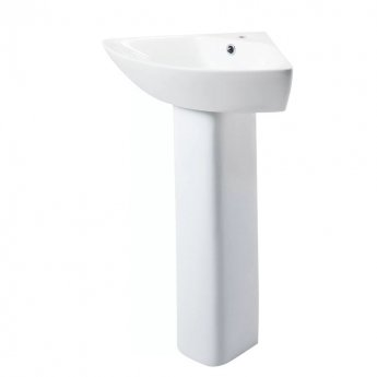 Cali Spek Corner Basin with Full Pedestal - 620mm Wide - 1 Tap Hole