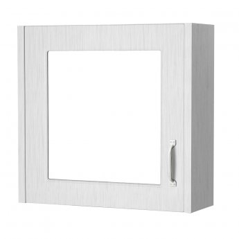 Cali Traditional Mirrored Bathroom Cabinet 600mm Wide 1 Door - White Ash